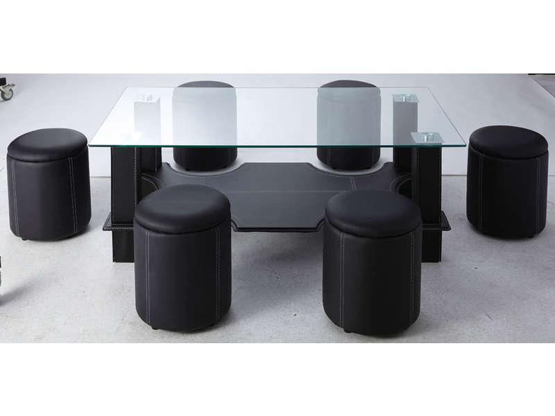 Table Basse En Verre Avec 6 Pouf Emberizaone Fr